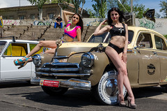 Models at autoshow (yedmitry) Tags: girls summer people cars beauty pose women models gaz autoshow exhibition retro vehicle oldtimers pinup carshow m20 pobeda zaporozhye