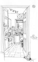 June 02 2016: The kitchen, Troutbeck apartment, Ambleside