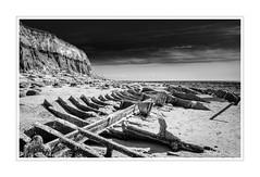 The Sheraton - Hunstanton (BearPaw Photographics) Tags: blackandwhite beach sand norfolk cliffs shipwreck lowtide sheraton hunstanton steamtrawler