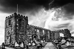 St Mary's Church, Whitby (GWMcLaughlin) Tags: sky blackandwhite church monochrome clouds canon dark mono yorkshire dramatic dracula graves whitby tombstones efs gravestones northyorkshire stmarys 18135 70d 18135mm silverfx