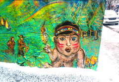 Boy (Exile on Ontario St) Tags: montreal streetart graffiti plateau ruelle montral street art urbain urban wall murals mural walls painting plateaumontroyal alleys alley ruelles alleyway alleyways paint child murale enfant native feather face sapin vert green winter hiver
