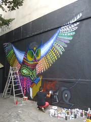 Spaik au M.U.R. XI : travail en cours (23 juillet 2016) (Archi & Philou) Tags: spaik murxi murpeint paintedwall paris11 streetart oiseau bird chelle ladder wip travailencours workinprogress bombe peinture