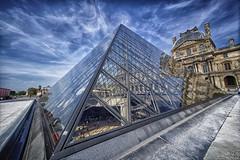 Louvre Pyramid (marko.erman) Tags: sky sun paris france monument glass architecture clouds design pyramid louvre sony sunny wideangle landmark courtyard palais pei cour napolon