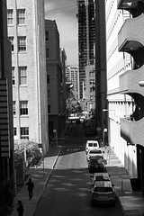 Up Natoma, from SF MoMA (JB by the Sea) Tags: sanfrancisco california june2016 financialdistrict sanfranciscomuseumofmodernart sfmoma urban blackandwhite bw natomastreet