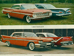 1959 Chevrolet Impala Sport Coupe  and DeSoto Fireflite 4 Door Hardtop (coconv) Tags: pictures auto door old 2 classic cars chevrolet hardtop car sport vintage magazine ads advertising cards photo flyer automobile post image photos antique postcard 4 ad picture images advertisement vehicles photographs chevy card photograph dome postcards vehicle mopar autos collectible collectors impala brochure coupe automobiles desoto 59 1959 dealer prestige flite firedome fireflite flre adventurere