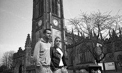 Close (4foot2) Tags: street leica boy people blackandwhite bw man sexy clock film girl monochrome leather closeup 35mm manchester couple close cathedral kodak candid trix streetphotography rangefinder lovers summicron 35mmfilm kodaktrix streetphoto analogue m3 leatherjacket prettygirl peoplewatching hotgirl 400iso streetshot filmphotography 2015 sexygirl manchestercathedral caffenol printfilm interestingpeople leicam3 manchesterpeople 4foot2 candidportrate 4foot2flickr 4foot2photostream fourfoottwo