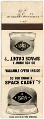 Do You Know a Space Cadet? (Alan Mays) Tags: old white black vintage ads paper advertising typography space caps hats illustrations ephemera type covers matches advertisements fonts questions printed offers matchbooks cadets typefaces valuable spacecadets matchbookcovers