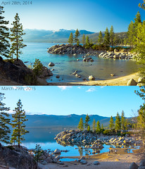 Drought (Gentilcore) Tags: water nevada laketahoe rephotography lakelevel sandharborstatepark washoecounty laketahoebasin californiadrought