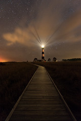 Bodie Lighthouse at Night I (Sandra Herber) Tags: astrophotography bodieislandlighthouse capehatterasnationalseashore night northcarolina outerbanks stars lighthouse