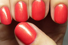 Grace-full Nail Polish Gaye (http://www.thepolishedhippy.com) Tags: red coral swatch nail australian polish indie flakes shimmer varnish gracefull swatches lacquer bigcartel