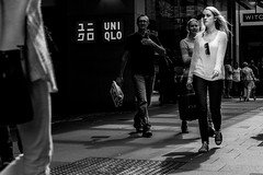 CATWALK 9 (Vincent Albanese) Tags: street autumn portrait people bw woman man walking fuji candid sydney streetphotography australia catwalk strikeapose mirrorless xpro1 inspiredeye lightroom5 xf35mm