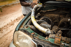 How to make a snorkell - African Style (Amp34) Tags: africa road west car 4x4 tube pipe central pickup can off double plastic overloaded gabon gamba snorkell mitsubushi