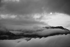 Montagnes & nuages (Manu Nguyen) Tags: blackandwhite bw moon mountains nature night clouds lune movement noiretblanc nb ciel nuages paysage nuit mouvement montagnes
