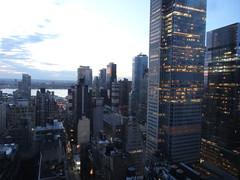 New York. Sunset views of Times Square from a  wedding venue. (denisbin) Tags: wedding newyork dusk manhattan weddingcake midtown timessquare hudsonriver empirestate skylark skylarkroom