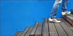 week 28 Blue - stairway to... (jkbodkin) Tags: blue stairs wood newyorkcity manhattan sneakers bluejeans climbing acending stepping lines