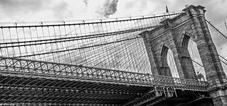 Brooklyn Bridge cables on cloudy day