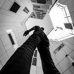 (Svein Nordrum) Tags: windows blackandwhite bw man building up lines oslo noir exterior angle wide perspective explore barcode 12mm nero upwards explored