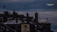 La nuit, tous les chats sont gris... (Tra Te E Me (TTEM)) Tags: hdr lumixfz1000 photoshop cameraraw dijon toits roof chat kat nuit night bleu blue