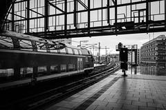 Einsteigen (Gruenewiese86) Tags: trip berlin monochrome germany deutschland mono fuji tour hauptstadt zug bahnhof monochrom zugfahrt haltestelle xe1