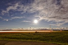 Mars left, Moon Centre (John Andersen (JPAndersen images)) Tags: blue sky panorama mars moon clouds fence reflections stars highway colours alberta