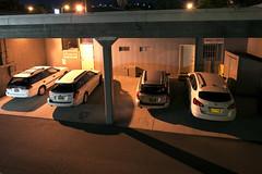 Three Subarus and a Nissan (Curtis Gregory Perry) Tags: longexposure car station night oregon wagon nikon automobile nissan estate garage parking lot subaru rogue legacy carport thedalles d800e