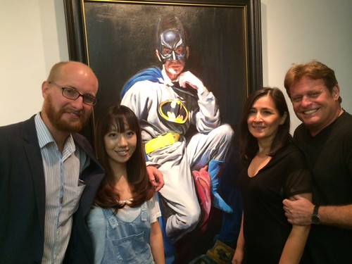Painter Jake Johnson with wife and Cecelia and Nathan Kurland at Jake's closing night party at the Coconut Grove art festival gallery
