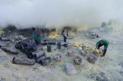 Gathering the solidified sulphur (JohnMawer) Tags: indonesia volcano java jawatimur ijen sempol