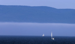Sailing on the bay (vamp8888) Tags: sailing bay gasp gaspsie qubec canada ocean mist clouds mountain blue canon 6d ef70200mmf28lisiiusm mount summer july vacation holiday canon6d