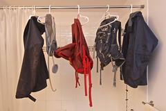 Laundry (Whistler Whatever) Tags: wet bathroom shower curtain line jacket laundry backpack hanging hanger tokinaatx116prodxaf1116mmf28