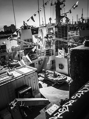 Ships Ahoy (TMimages PDX) Tags: road blackandwhite water monochrome buildings portland geotagged photography photo ship waterfront image seawall deck photograph pacificnorthwest vignette fineartphotography iphoneography