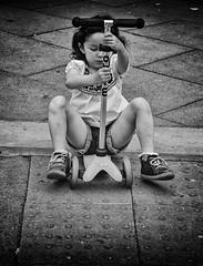 scooter girl (Daz Smith) Tags: city uk portrait people urban blackandwhite bw playing streets blancoynegro girl monochrome canon toy blackwhite bath candid citylife thecity streetphotography scooter canon6d dazsmith