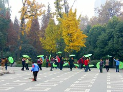 Women Doing Umbrella Dance