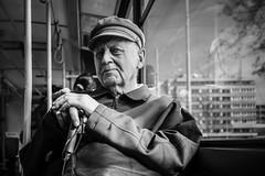 Man on the Train (Tomas.Kral) Tags: street old travel blackandwhite bw man public monochrome train fuji czech prague tram transportation fujifilm traveling x100s