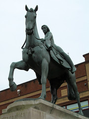Coventry - Lady Godiva (pefkosmad) Tags: uk england sculpture horse woman streets art history animal statue tom hair naked nude ride outdoor protest broadgate story voyeur wife publicart coventry legend equestrian warwickshire godiva anglosaxon mercia ladygodiva peepingtom noblewoman taxation leofric earlofmercia