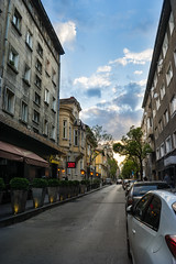 The Street (martinyanakiev) Tags: street sunset sky cars architecture clouds buildings sofia pizza bulgaria