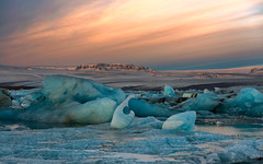 Blue To Orange (Marshall Ward) Tags: ice sunrise landscape dawn iceland glacier icebergs jkulsrln blueice glaciallake icebeach nikond800 afszoomnikkor2470mmf28ged marshallward