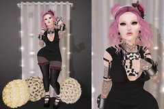 Post #1717 ( =^^=) Tags: pink roses white black stockings tattoo hair nose skull star necklace shoes punk mesh lace emo goth makeup twinkle piercing ombre diamond secondlife buns kawaii monroe earrings hud septum bangles garters gacha applier pinkatude sashakittehwildrose