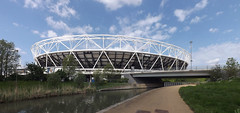Olympic Stadium (lcfcian1) Tags: city england panorama london water sunshine river canal exterior stadium pano capital panoramic olympic olympicstadium stadia citymillriver