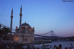 ORTAKOY. (Serapic) Tags: city bridge sunset sun turkey river landscape lights cityscape sundown fiume istanbul nights bosphorus moschea turchia bosforo oratkoy