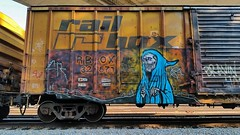 NATAS (BLACK VOMIT) Tags: art car train graffiti grim reaper box rail boxcar freight natas