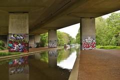 Wey Navigation Byfleet 19 May 2016 034 (paul_appleyard) Tags: bridge graffiti may surrey pillars navigation m25 wey 2016 byfleet