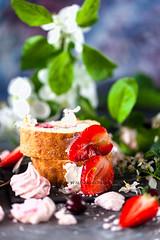Strawberry and Cream Roulade (AlenaKogotkova) Tags: food flower cake cherry dessert baking spring strawberry berry blossom sweet cream tasty whippedcream sponge meringue baked roulade mascarpone foodphoto yuumy foodstyling dessertssweets