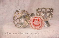 Silver Candlestick Holders (ocanannain) Tags: pink flowers roses stilllife texture rose closeup pastel pastels softfocus textured shallowdepthoffield s2f tabletopphotography kimklassen s2fclass