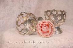 Silver Candlestick Holders (ocanannain) Tags: pink flowers roses stilllife texture rose closeup pastel pastels softfocus textured shallowdepthoffield s2f tabletopphotography kimklassen s2fclass