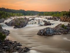 Orange Glow Over Great Falls (jiroseM43) Tags: longexposure river lumix panasonic waterfalls potomac greatfallsnationalpark gh3 1235mm dmcgh3