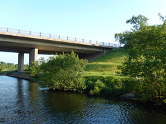 A55 from the north, 2016 Jun 05 (Dunnock_D) Tags: uk bridge blue england sky green grass river unitedkingdom britain dee riverbank slope roadbridge a55 northwalesexpressway