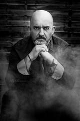DSC_2511 (rix1284) Tags: blackandwhite man beard model bare smoke models bald tie necktie homme fumes fume baldheaded