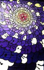 Talking in Circles (Steve Taylor (Photography)) Tags: city pink newzealand christchurch white streetart black art lines yellow festival wall digital circle graffiti mural purple spectrum canterbury ring lilac nz round mauve southisland ymca tilt oiyou