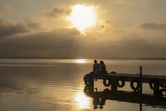 El amor existe ( love exists ) (cazador2013) Tags: sol valencia contraluz agua pareja amor nubes embarcadero romantic turismo siluetas imagen anochecer albufera romntica