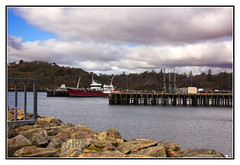 Harbour at Stornaway (Audrey A Jackson) Tags: clouds scotland pier boat rocks harbour crane 1001nights railings stornaway canon60d